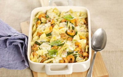 Garnelen-Zucchini-Auflauf mit Farfalle