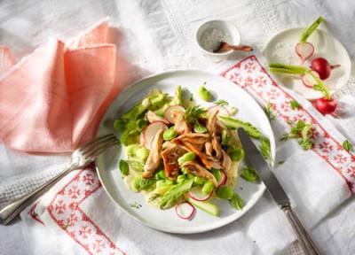 Pulled Chicken Salat mit Spargel und Bohnen