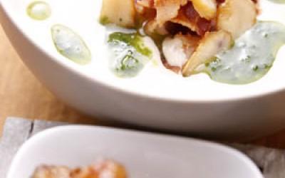 Maronensuppe, Speck und Parmesanstange