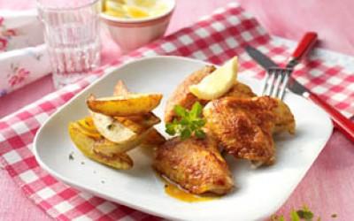 Chicken-Wings mit Kartoffelecken