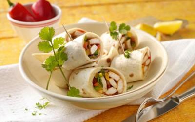 Hähnchen im Tortilla-Mantel mit Papaya und Paprika