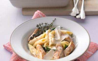 Penne-Zucchini-Carbonara mit Putenstreifen