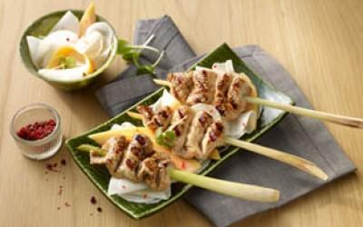 Putensaté-Spieße auf Rettich-Papaya-Salat