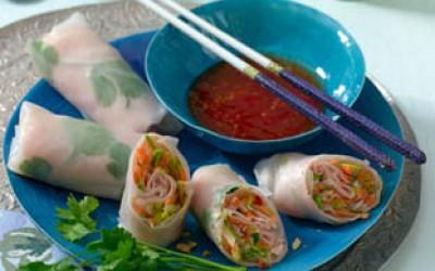 Thailändische Puten-Reispapier-Röllchen