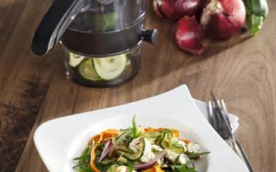 Tagliatelle mit Mandelcreme und Gemüse-Spirellis