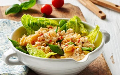 Bunter Nudelsalat mit Hüttenkäse ® Tomate & Basilikum und grünen Bohnen
