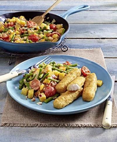 Tomaten-Ingwerpfanne mit Kartoffeln und Bohnen