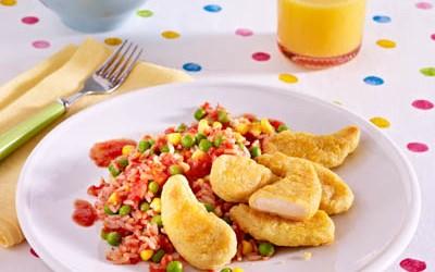 Carlchen`s Dippers mit Tomatenreis, Erbsen und Mais