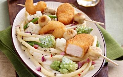 Knusper-Garnelen-Chicken-Nuggets-Spieß