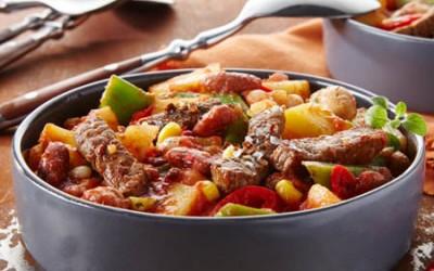 Kartoffel-Bohnen-Chili mit mariniertem Rindersteak