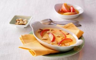 Sautierte Honigäpfel mit Vanillecreme und Ingwerstreuseln