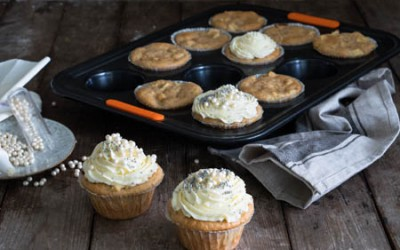 Apfel-Zimtmuffins mit Frischkäsefrosting und Streuseln