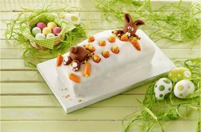 Möhren-Marmorkuchen mit Fondanthäschen