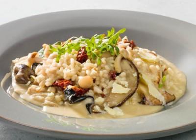 Pilz-Risotto mit Brunnenkresse-Salat