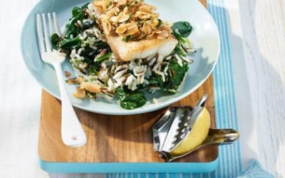 Fischfilet mit Zitronen-Vinaigrette und Spinat-Reis
