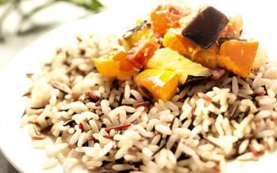 Ofen-Ratatouille mit Kürbis und Trigrano-Reis