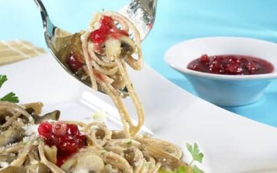 Pilz-Spaghetti mit Chili-Chutney