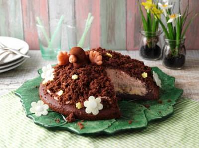Maulwurfkuchen mit Kakao-Puderzucker