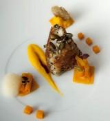 Knuspriger Seeteufel mit Kürbis, Orange und Karotte