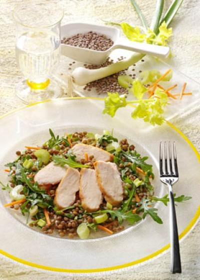 Vitaminsalat mit Pardina Linsen und gebratener Hähnchenbrust