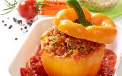 Paprika mit Soja-Reis-Füllung