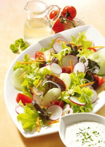 Eichblatt-Salat mit Kräutersauce