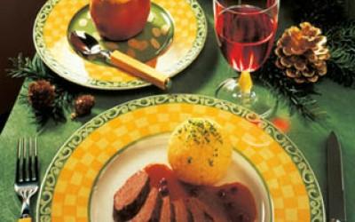 Weihnachtsmenü Hasenfilet mit Camembert-Knödeln